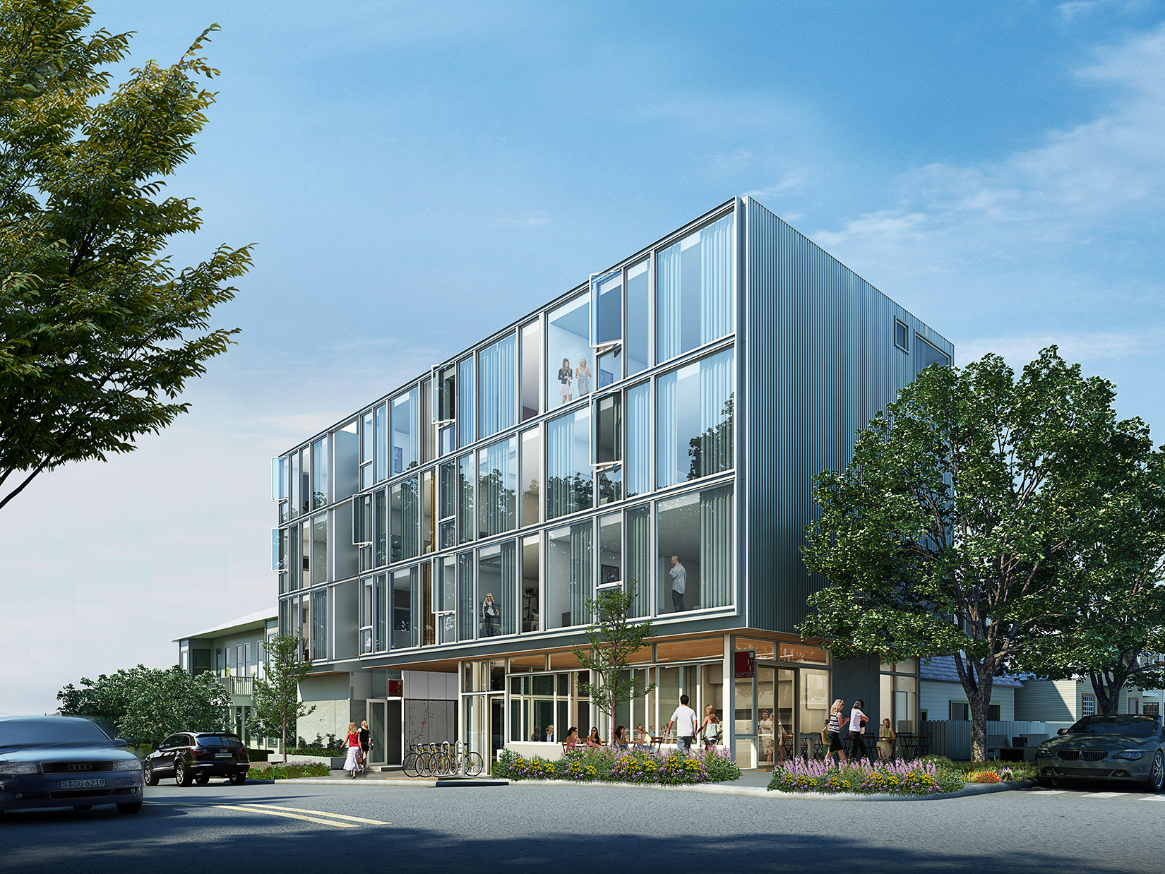 Art Inn Exterior Rendering - Hybrid Design - Seattle Architects